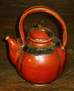 Porcelain teapot, ohata glaze, by Andrew Boswell