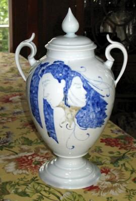 By Andrew Boswell. Wheel thrown, hand painted, grolleg porcelain lidded vassel.