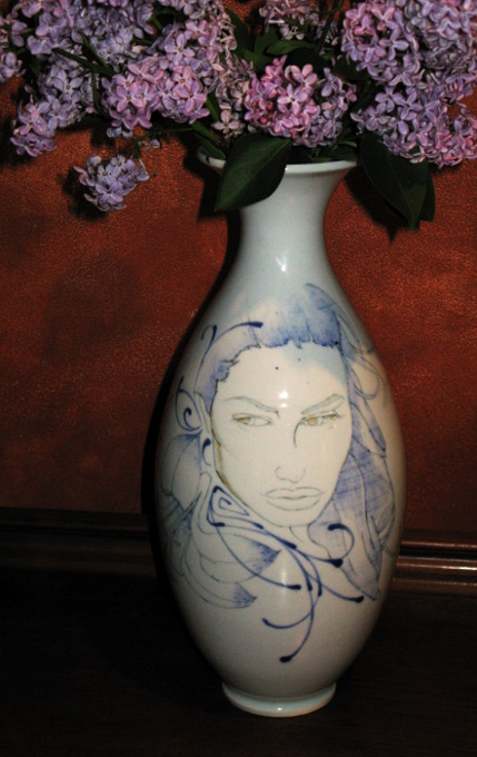 Wheel thrown grolleg porcelain illustrated vase by Andrew Boswell
